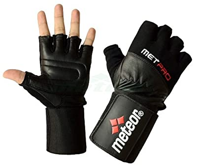 Meteor Pro Gel Weight Lifting Gym Gloves With Wide Wrist Support by Meteor
