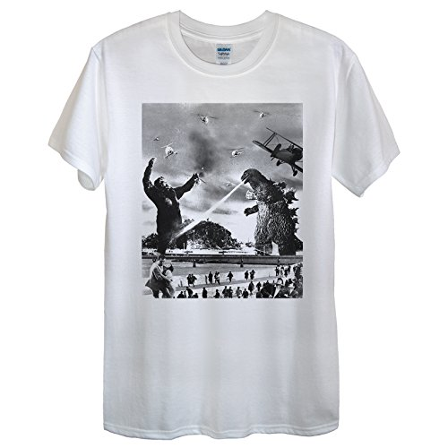 King Kong vs Godzilla Maglietta Design/panico Retro Epic divertente Unisex Donne con angoli White XL