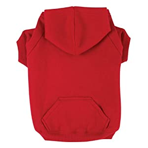 Zack & Zoey Polyester/Cotton Basic Dog Hoodie, Small, 12-Inch, Tomato Red