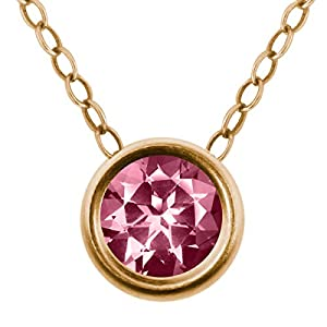 Carlo Bianca Pink 14K Yellow Gold Pendant Made With Swarovski Topaz