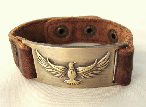 Eagle Leather Bracelet, Adjustable