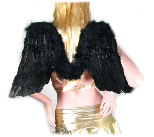 SACAS Large Black Feather Angel Fairy Wings w/ Free Halo