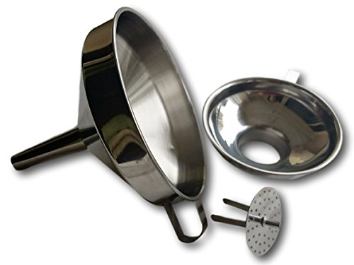 Kitchen Funnel with Strainer (Removable Filter) and Handle - Bonus Small Wide Mouth Funnel for Canning- Stainless Steel, Stackable Set (3 pcs) (Antique Pickle Crocks compare prices)