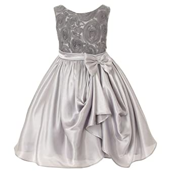 Amazon.com: Kids Dream Girl Silver Rosette Satin Pick Up ...
