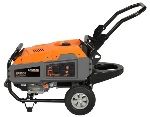 Generac 6001 LP5500 Series 389cc OHV Liquid Propane Powered Portable Commercial and Residential Generator with Tank Holder (CARB Compliant), 6875-watt