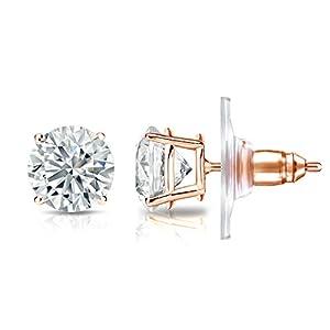 IGI Certified 14k Rose Gold 4-Prong Basket Round Diamond Stud Earrings (1.40 ct, G-H, SI2-I1)