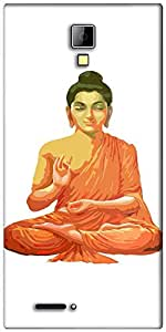 Snoogg Buddha for Peace White Designer Protective Back Case Cover For Micromax Canvas Express A99