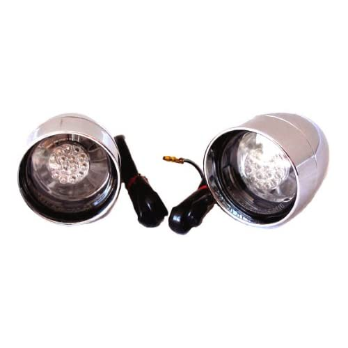 Chrome Deuce Style LED Turn Signals with Visors for Harley Motorcycles