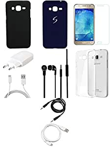 NIROSHA Tempered Glass Screen Guard Cover Case Car Charger Headphone USB Cable Mobile Holder Charger for Samsung Galaxy J7 - Combo