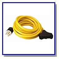 Coleman Cable 01912 25-Feet 10/3 Generator Power Cord with L5-30P Plug and 3-Outlets