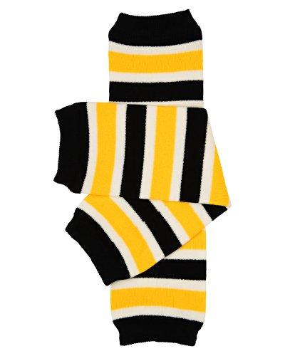 Judanzy Team Yellow Black & White Stripe Baby Boy Or Girl Leg Warmers