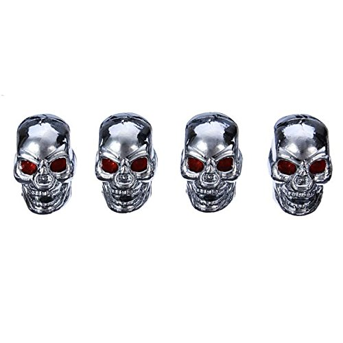 ISSEC 4pcs Skull Style Tire Valve Cup Car Wheel Decoration Accessories(Shipment Random)