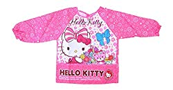 Baby Bucket hello kitty Print long sleeves waterproof apron Bib eating painting crumb catcher (Pink, Large)
