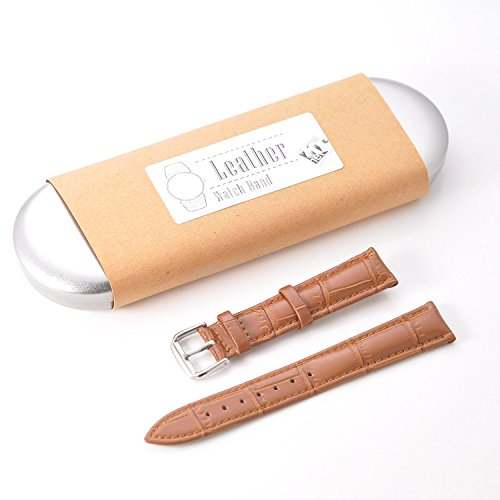 KR-NET (Brown) 18mm Genuine Leather Strap Smart Watch Band for Withings Activite Pop Steel