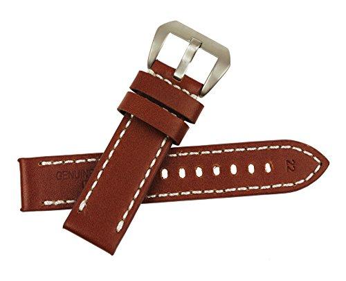 RECHERE Brown Smooth Matt Leather Wristwatch Watch Band Strap Stitch Big Silver Pin Buckle (Width 22mm)