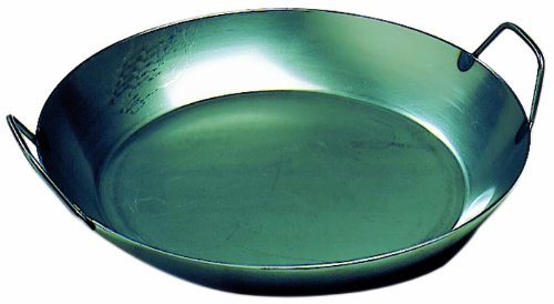 Matfer Bourgeat 062051 Black Steel Paella Pan, 14 1/8