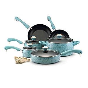 Paula Deen Signature Collection Porcelain Nonstick 15-piece Aqua Speckle Cookware Set