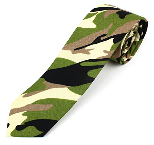 Men's Cotton Skinny Necktie Camouflage Pattern - Green (Camo Neck Ties compare prices)