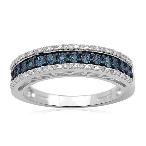 Sterling Silver Blue and White Diamond Anniversary Ring (1/10 cttw, I-J Color, I2-I3 Clarity), Size 7