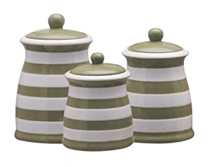 terramoto ceramic 3 piece stripes canister set apple green kitchen storage and. Black Bedroom Furniture Sets. Home Design Ideas