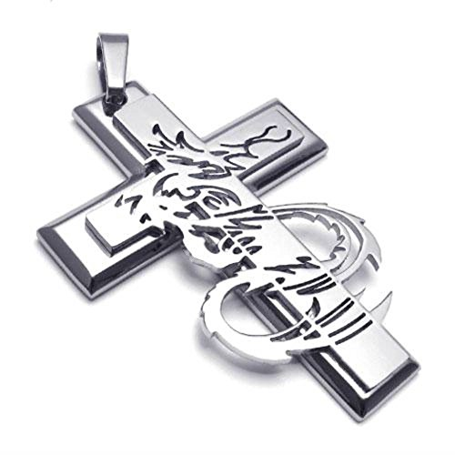 JRui Jewelry Men's Biker Stainless Steel Gothic Dragon Cross Pendant Necklace Chain 26 inches
