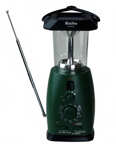 Kaito Ka249W Multi-Functional Solar / Wind-Up Led Camping Lantern With Am/Fm Noaa Weather Radio & Cell Phone Charger, Color Green