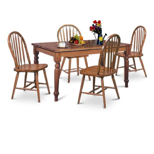 LARGE Dark Oak 5 Piece Dining Set W Farmhouse Table & 4 Arrow Back Chairs