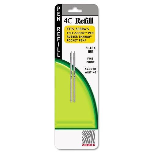 Zebra-Recharge 4C pour stylo, trait fin, encre noire, 2/Paquet Vendu comme 1 Pack-Sans acide, qualité d'archives.