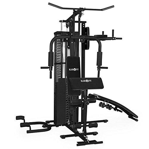 Klarfit Ultimate Gym 3000 Explotair Stazione Multifunzione Fitness Palestra Body Building (Struttura Robusta, 30 diversi esercizi per bicipiti addominali gambe schiena, 7 dischi da 6 kg e un peso principale da 4,5 kg, Comando a cavo flessibile) Nero