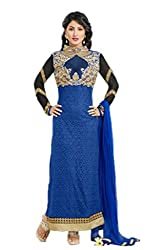 Heena khan blue colored dress material