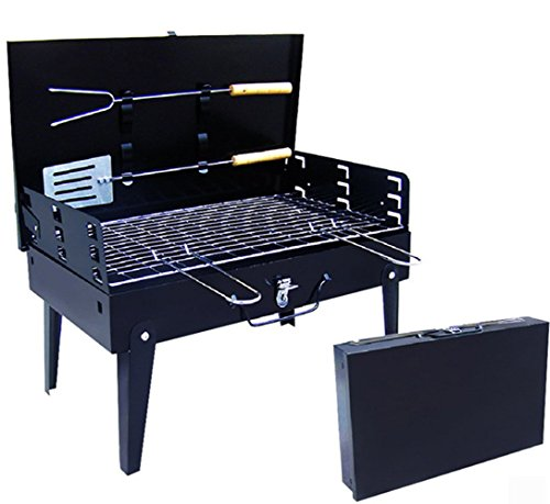 SHOWYOUR Portable Fold-able Legs Stainless Steel Outdoor Camping Holiday Travel Cookouts Charcoal BBQ Grill Box Yakitori Kebab Satay Roast Mutton Beef Vegetables or Grilled Fish Corn Kit Black (Bbq Mini Logs compare prices)