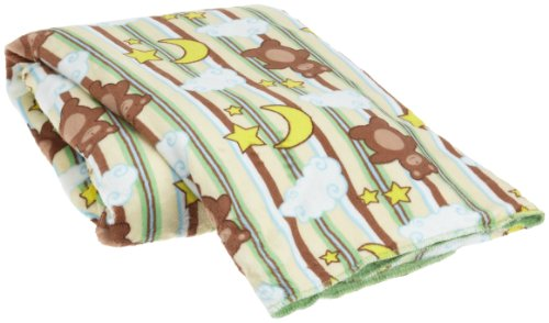 Northpoint Sherpa Back Printed Baby Blanket, Green Bears