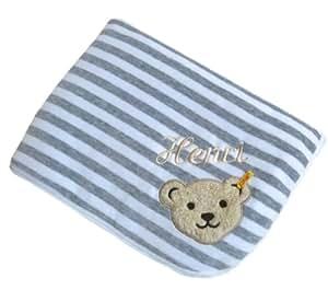 Babydecke mit Ihrem Wunsch-Namen bestickt grau / weiß 90 x 60 cm Steiff Collection 2890