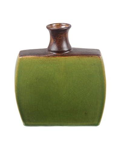 Privilege International Small Drip Ceramic Vase, Green
