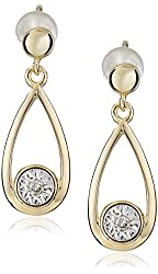 18k Yellow Gold Over Sterling Silver Diamond Accent Drop Earrings