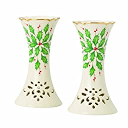 Lenox Holiday Pierced Candlestick Pair