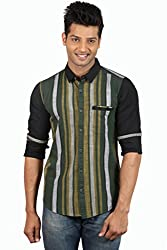Le Tailor Men's Slim Fit Casual Stripes Shirt ( SLCFS109,Black & Green,L )