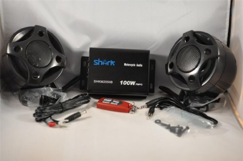 Shark Shkmsm2050K-Black Motorcycle / Yacht 2 Speakers + Amplifier + Radio + Usb / Sd + Wireless Rec Remote. All Atv Motorcycle