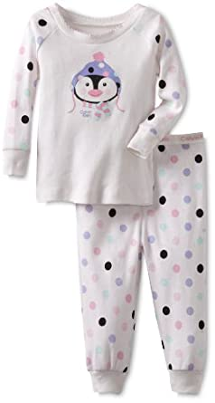 Calvin Klein Girls 2-6x Ck 2 Piece Penguin Set, White, 2T