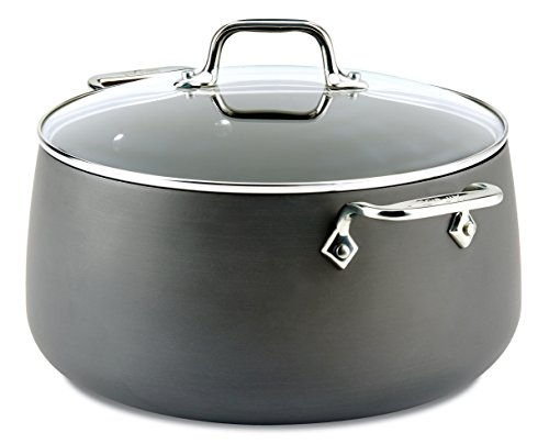 All-Clad E7855264 HA1 Hard Anodized Nonstick Dishwasher Safe PFOA Free Stock Pot Cookware, 8-Quart, Black