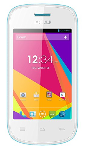 BLU Dash JR TV D141T Unlocked GSM Dual-SIM Android Cell Phone - White/Blue