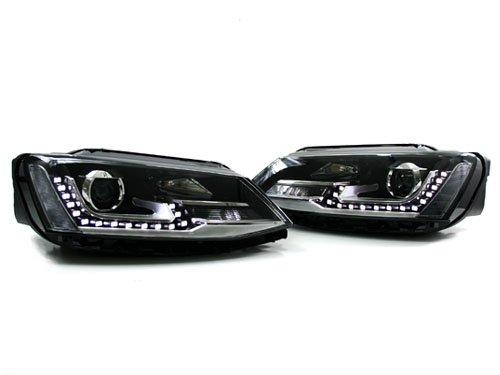 2011+ Vw Jetta Mk6 Black Euro Hybrid Style Projector Headlights With Led Strip