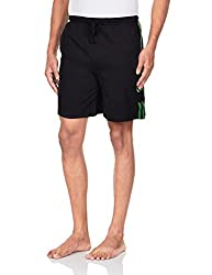 Chromozome Men's Cotton Shorts (8902733319775_S-5428 Black with UV Green L)