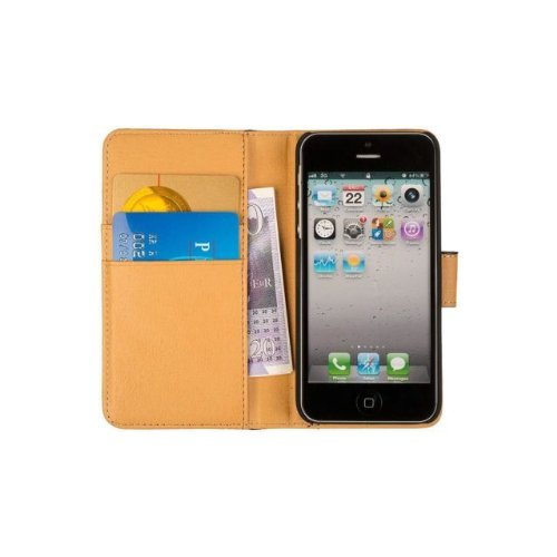 Great Sale Fonerize Leather Wallet, iPhone 5 & 5S Case & Credit Card Holder - Black & Tan