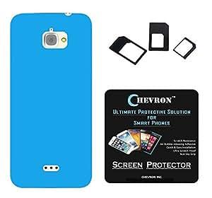 Chevron Rubberized Back Cover Case for InFocus M350 with HD Screen Guard & Multi Sim Adapter (Aqua Blue)