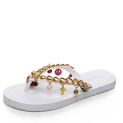 Nuova Europa in estate pantofole/Pistoni handmade moda/Pizzico incantevole alla fine di ciabatte da spiaggia donna diamante piatto antiscivolo-A Lunghezza piede=24.8CM(9.8Inch)