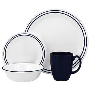 Corelle Livingware 16-Piece Dinnerware Set, Breathtaking Blue Beads, Service for 4