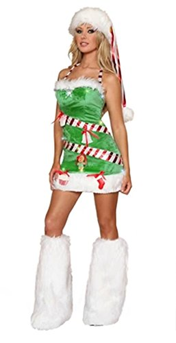 New Lovely Green Elf Sexy Lady Dress with a Foot That Wipe a Bosom