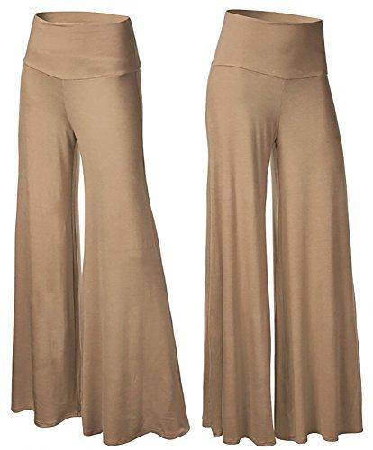 Happy Lily Women's High Waist Slinky Wide Leg Long Palazzo Bell Bottom Yoga Pants