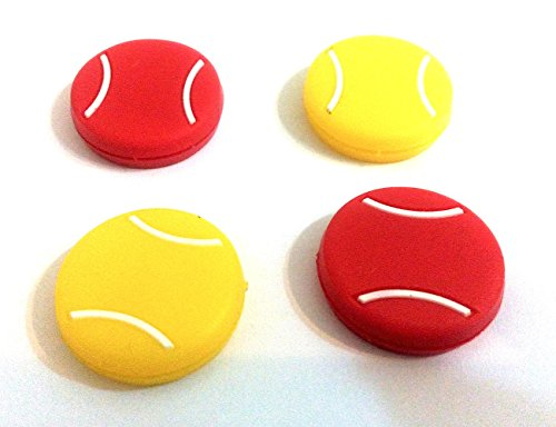 Silicone Vibration Dampeners for Tennis Squash Racket Pack of 4 (Tennis Icon)